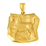 14k gold horse medallion