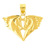 14k gold double horse heads pendant