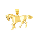 14k gold 30mm horse pendant