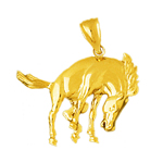 14k gold horse bucking pendant