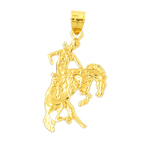 14k gold cowboy and bucking horse pendant