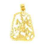 14k gold knight on horse slaying dragon medallion