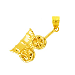 14k gold 3d covered conestoga wagon charm