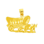 14k gold covered conestoga wagon and oxen pendant