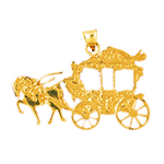 14k gold horse drawn coach pendant