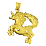 14k gold unicorn with wild mane pendant