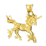 14k gold 3d unicorn pendant