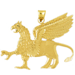 14k gold griffin pendant