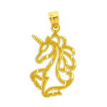 14k gold cut-out unicorn pendant