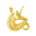 14k gold unicorn head pendant
