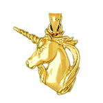14kt gold unicorn head charm