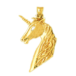 14kt gold unicorn head pendant