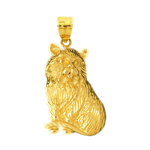 14k gold fluffy cat pendant