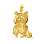 14k gold furry cat pendant