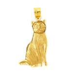14k gold house cat pendant