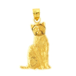 14kt gold house cat pendant
