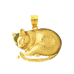 14k gold sleeping cat charm