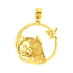 14k gold cat with butterfly pendant