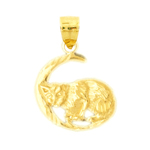 14k gold cat in a crescent pendant