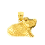 14k gold 15mm cat charm