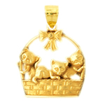 14k gold kittens in basket pendant