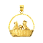 14k gold 3d basket of kittens pendant