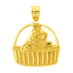 14k gold cat in basket pendant