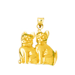 14k gold two cats charm