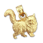 14k gold 3d long hair cat charm