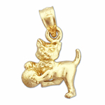 14k gold 3d cat with ball charm