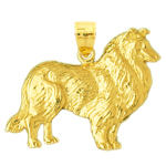 14k gold collie pendant