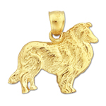 14k gold collie charm pendant