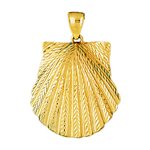 14k gold scallop seashell pendant
