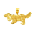 14k gold trained dog pendant