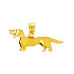 14k gold 3d dachshund dog breed pendant