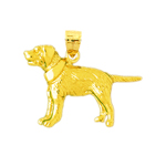 14k gold dog with collar pendant