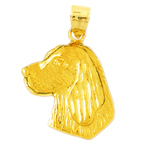 14 karat gold dog head pendant