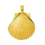14 kt gold scallop shell pendant