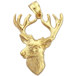 14k gold deer head with antlers charm pendant
