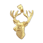 14kt gold deer head with antlers pendant