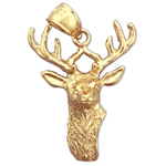 14k gold stag head with antlers pendant