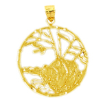14k gold encircled bear pendant
