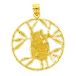 14k gold encircled panda bear pendant