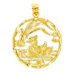 14k gold duck in pond pendant