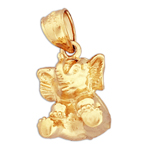 14k yellow gold 3d elephant charm