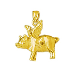 14k yellow gold pig with wings charm
