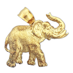 14k yellow gold elephant with tusks charm pendant