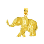 14k yellow gold textured elephant charm