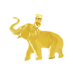 14k yellow gold polished elephant charm