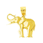 polish finish elephant charm in 14 karat yellow gold